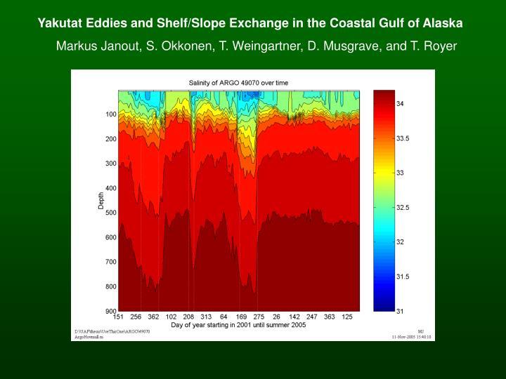 Yakutat Eddies and Shelf/Slope Exchange in the Coastal Gulf of Alaska
