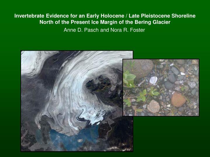 Invertebrate Evidence for an Early Holocene / Late Pleistocene Shoreline North of the Present Ice Margin of the Bering Glacier