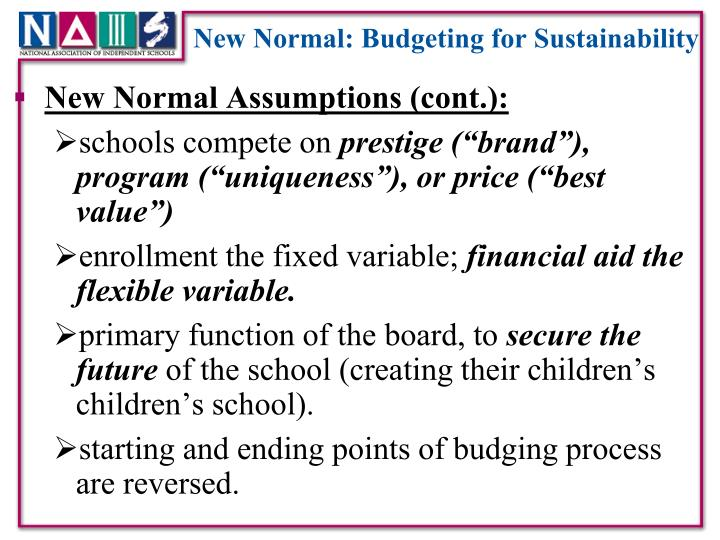 New Normal: Budgeting for Sustainability