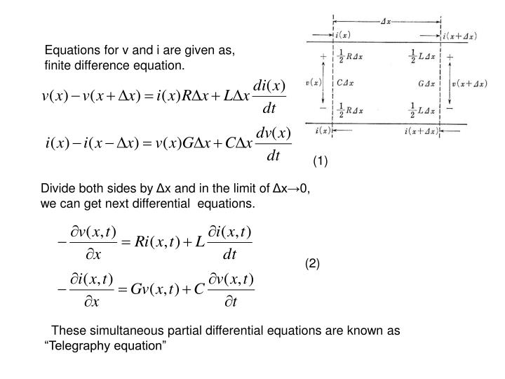 Equations for v and i are given as,