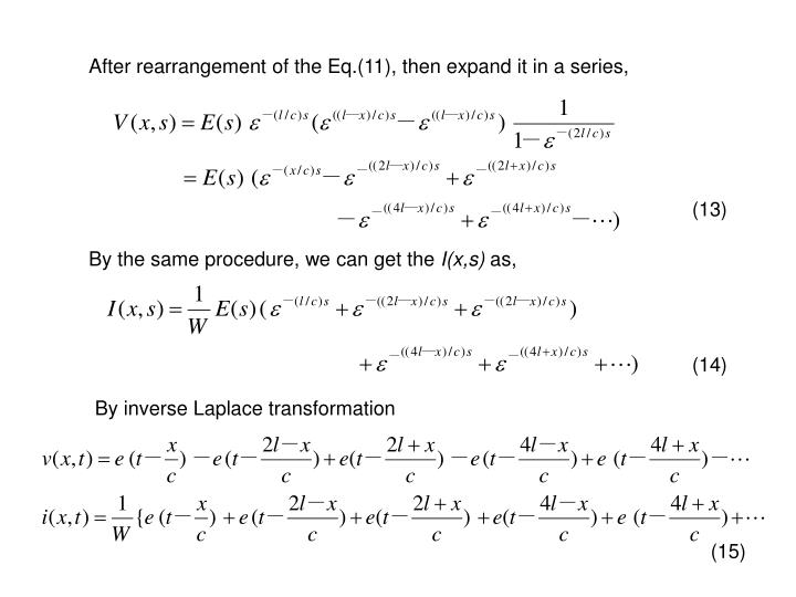 After rearrangement of the Eq.(11), then expand it in a series,