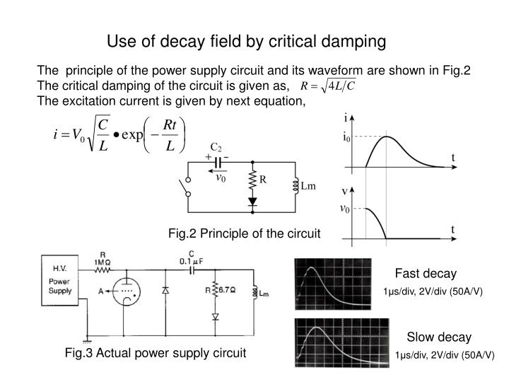 Use of decay field by critical damping