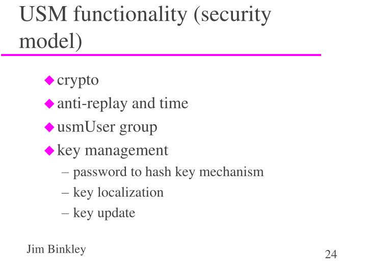 USM functionality (security model)