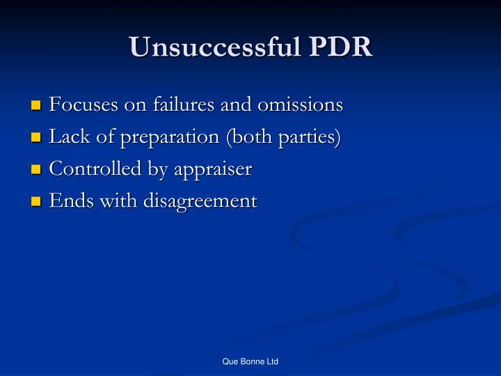 Unsuccessful PDR