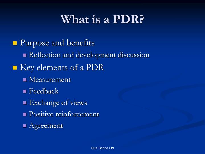 What is a PDR?