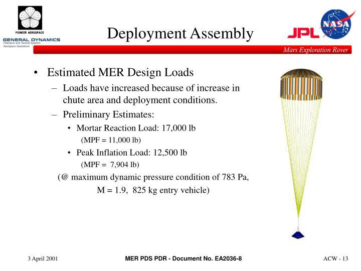 Estimated MER Design Loads