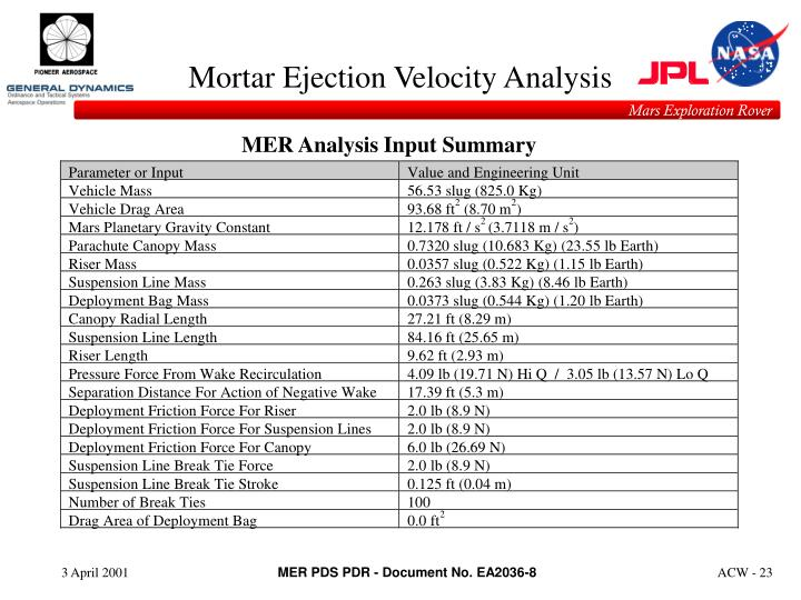 Mortar Ejection Velocity Analysis