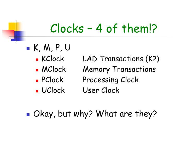 Clocks – 4 of them!?