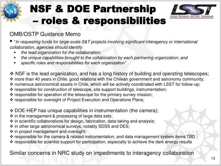 NSF & DOE Partnership