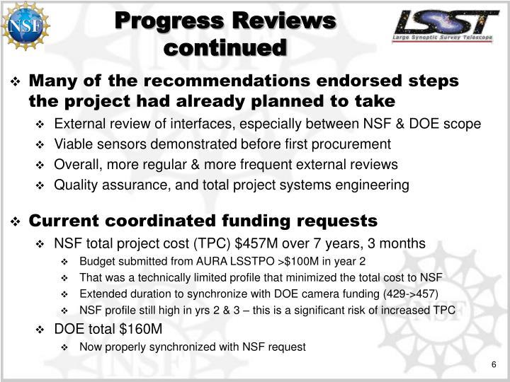 Progress Reviews continued