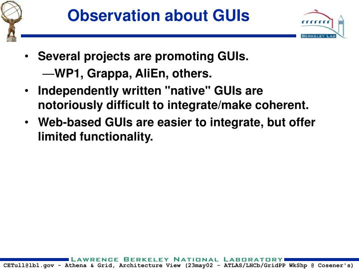 Observation about GUIs