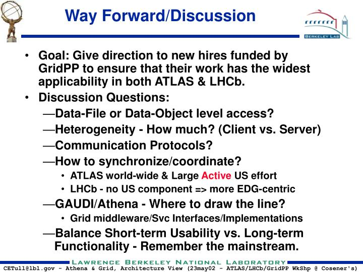 Way Forward/Discussion