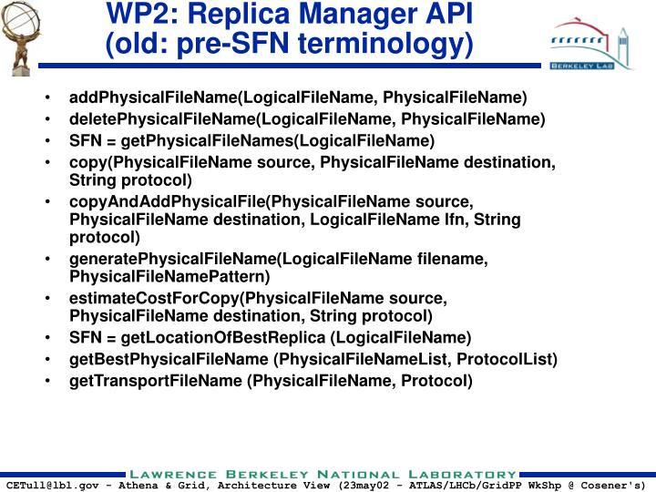 WP2: Replica Manager API
