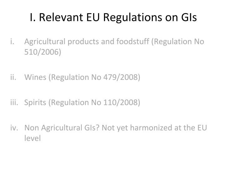 I. Relevant EU Regulations on GIs