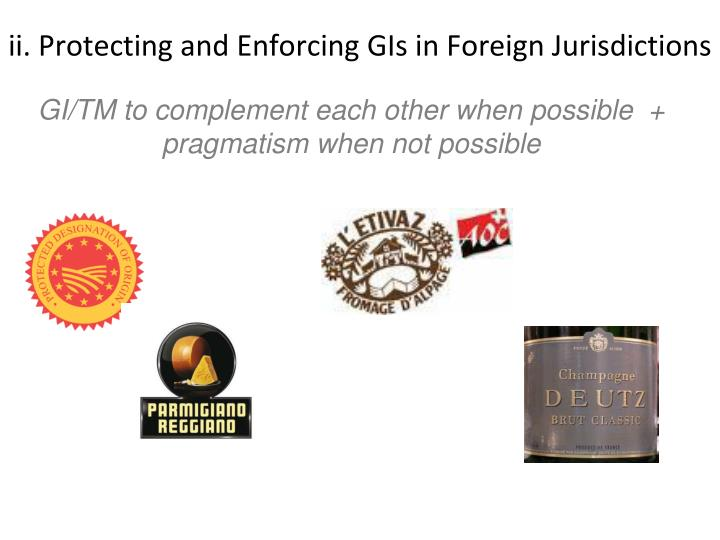 ii. Protecting and Enforcing GIs in Foreign Jurisdictions