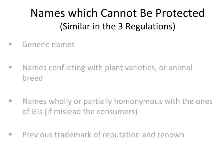 Names which Cannot Be Protected