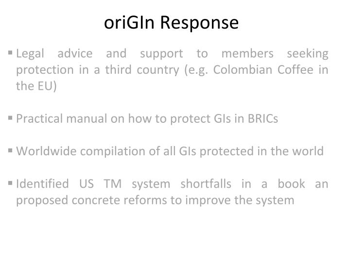 oriGIn Response