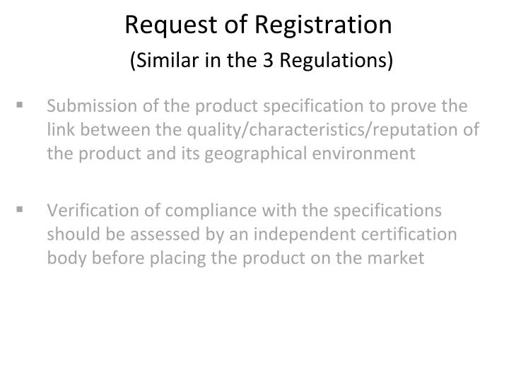 Request of Registration