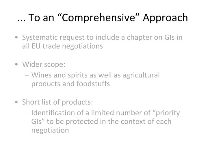 """... To an """"Comprehensive"""" Approach"""
