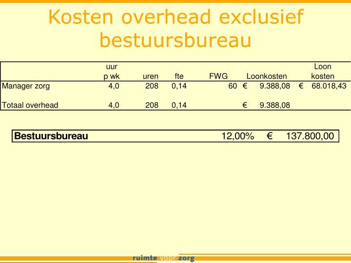Kosten overhead exclusief bestuursbureau