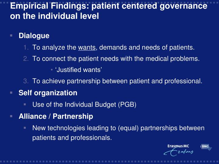 Empirical Findings: patient centered governance on the individual level