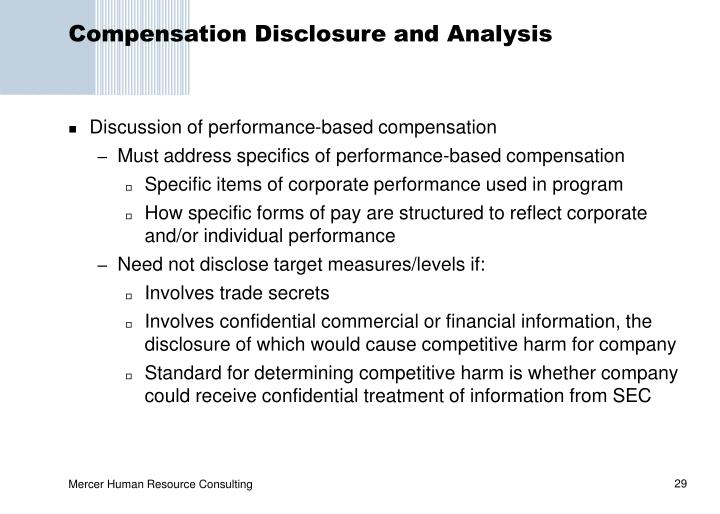 Compensation Disclosure and Analysis
