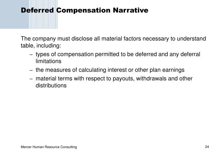 Deferred Compensation Narrative