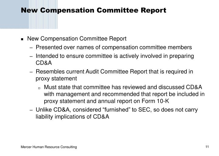 New Compensation Committee Report