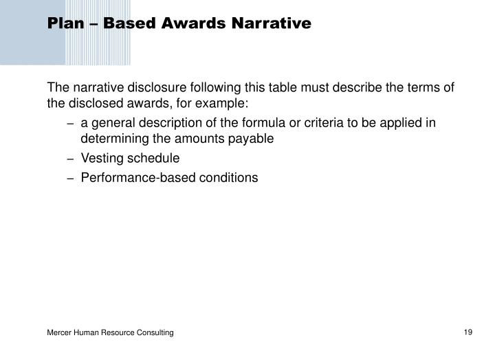 Plan – Based Awards Narrative