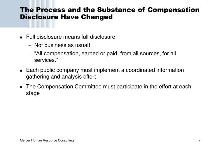 The Process and the Substance of Compensation Disclosure Have Changed