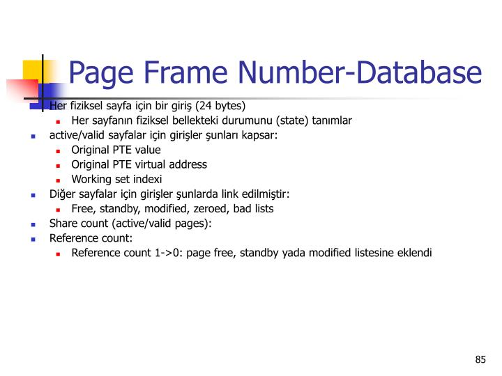 Page Frame Number-Database