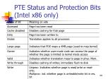 pte status and protection bits intel x86 only