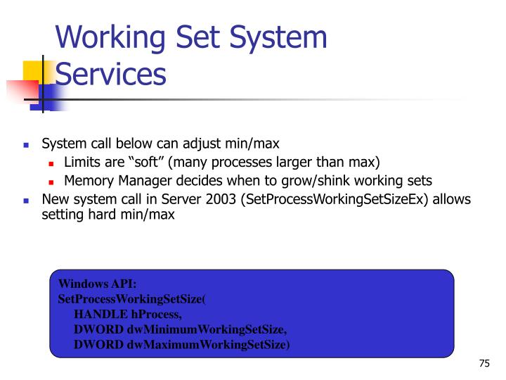 Working Set System Services