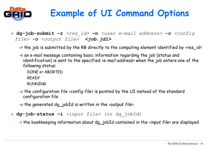 Example of UI Command Options