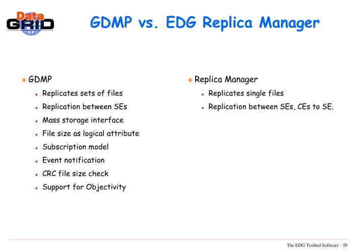 GDMP vs. EDG Replica Manager