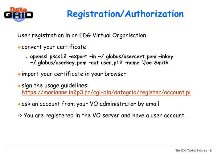Registration/Authorization