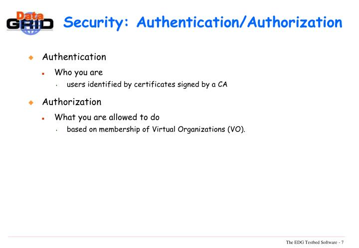 Security: Authentication/Authorization