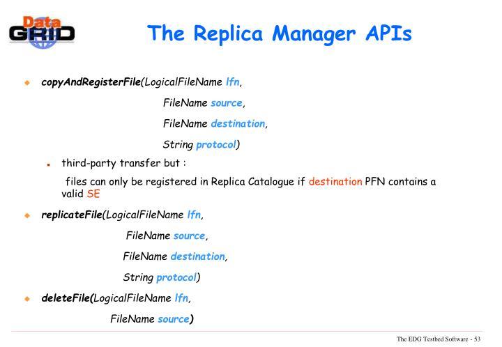 The Replica Manager APIs