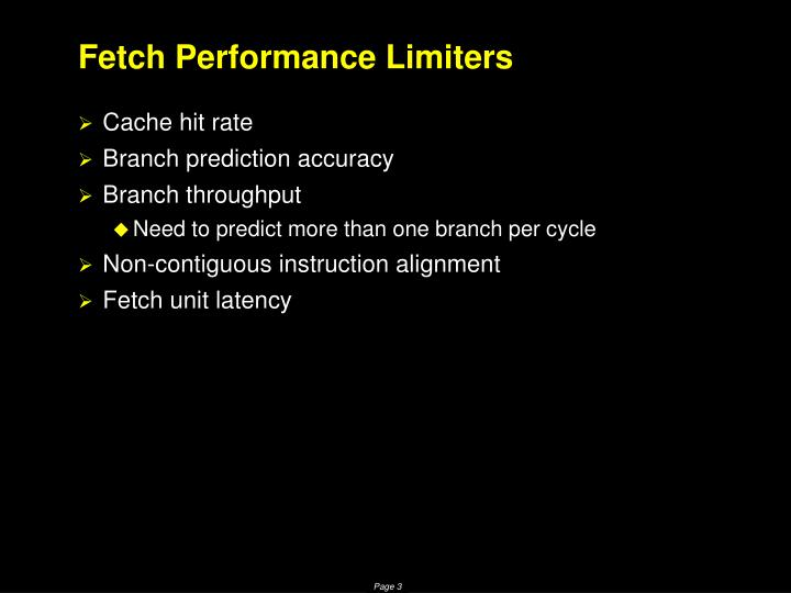 Fetch performance limiters