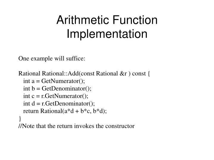 Arithmetic Function Implementation