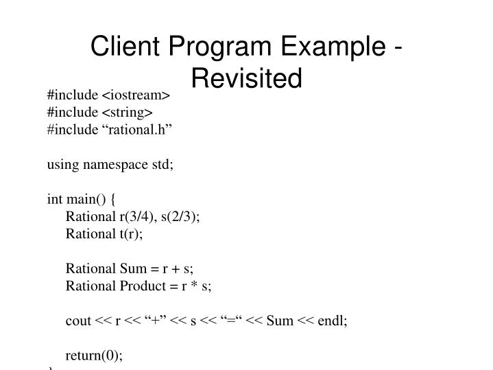 Client Program Example - Revisited