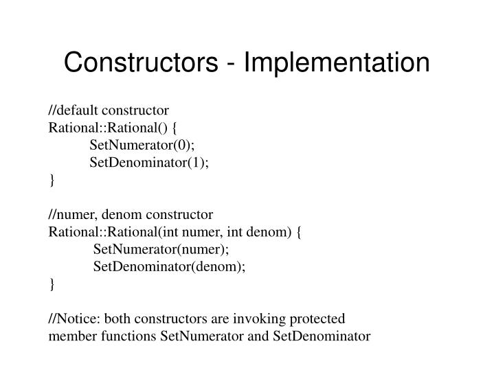 Constructors - Implementation