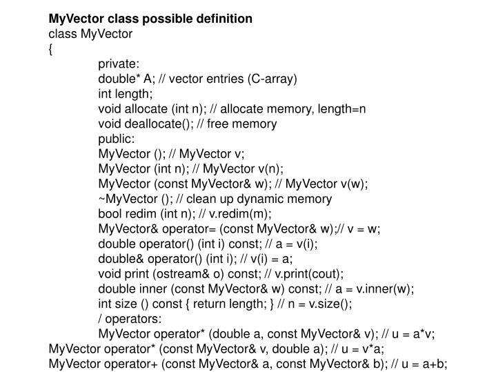 MyVector class possible definition