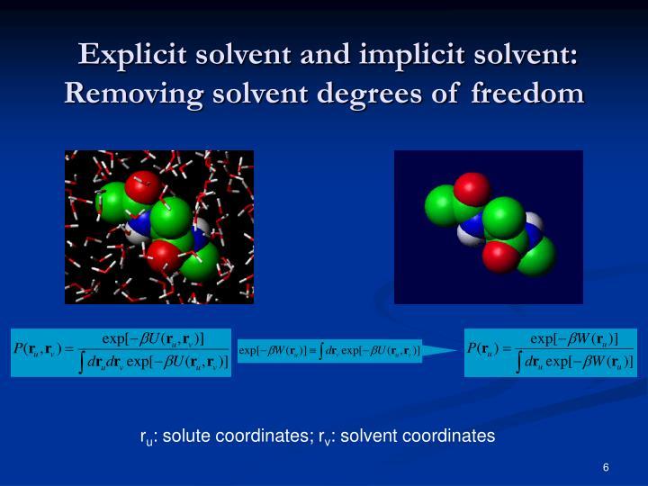 Explicit solvent and implicit solvent: