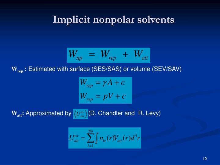 Implicit nonpolar solvents