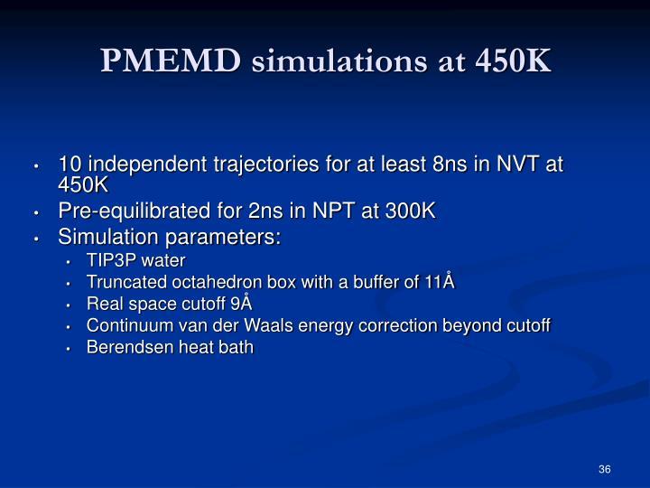 PMEMD simulations at 450K
