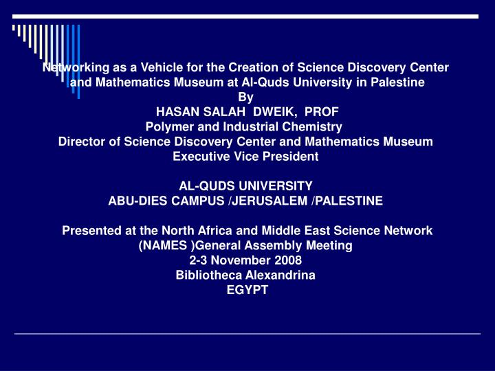 Networking as a Vehicle for the Creation of Science Discovery Center