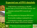 expected use of pfo data info