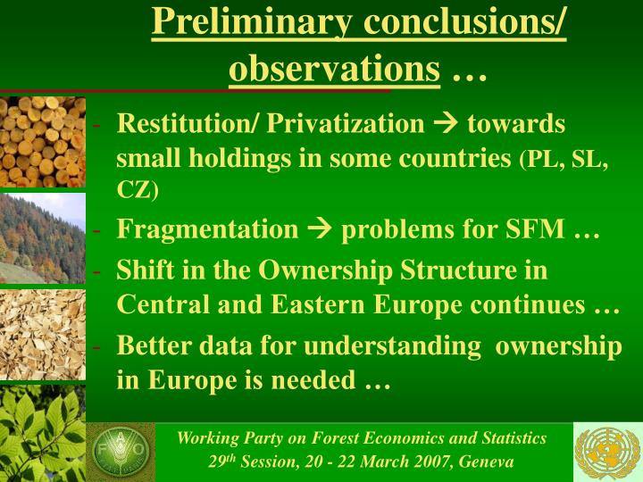 Preliminary conclusions/ observations