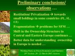preliminary conclusions observations